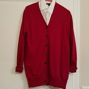 J. Crew Long Cardigan Sweater Red Medium